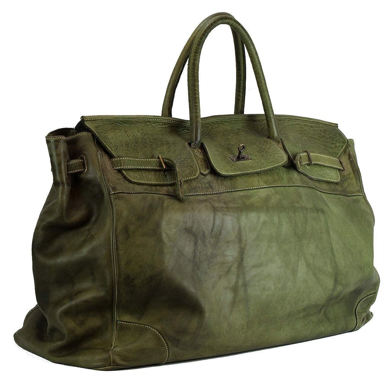 b323fcfa0f378 BZNA Bag Bella Grün verde XXL vintage Italy Designer Big Weekender  Wochenend Business Tasche Ledertasche Tasche Leder Shopper Neu  Amazon.de   Schuhe   ...