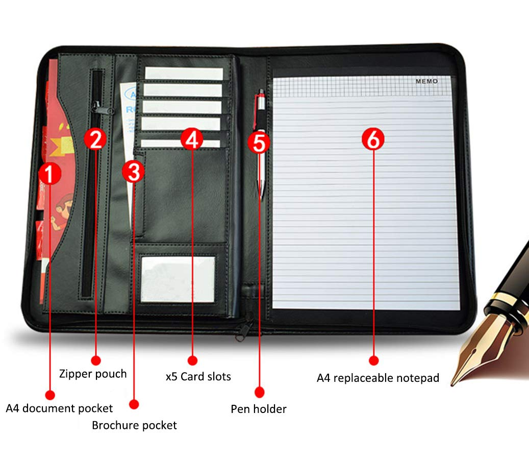 Portable Padfolio Business Leather Notebook Portfolio Organizer with Calculator and A4 Notepad File Folder Black Zippered Closure