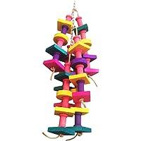 Juguete de madera para aves, papagayos; accesorio para jaula, pajarera; juguete con piezas colgantes para guacamayos y loros