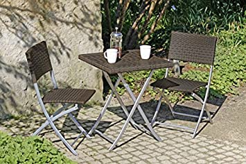 Vamundo Balkon Set Tisch 2 Stühle Poly Rattan Coffee Amazon