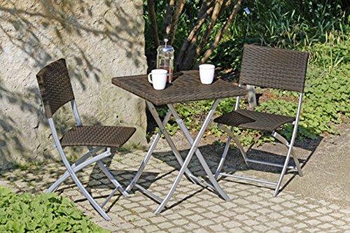 Balkon-Set - Tisch - 2 Stühle, Poly-Rattan - coffee