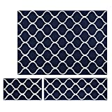 Area Rugs Sets, Maples Rugs [Made in USA][Rebecca] 3 Piece Set Non Slip Padded Large Runner & Rug for Living Room, Kitchen, & Bedroom - Navy Blue/White