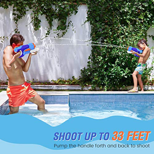 Kiztoys Water Guns for Kids 2 Pack Squirt Gun Super Soaker Water Blaster 1200CC Water Toys for Boys Girls Summer Swimming Pool Beach Gifts Outdoor Water Fighting Toys