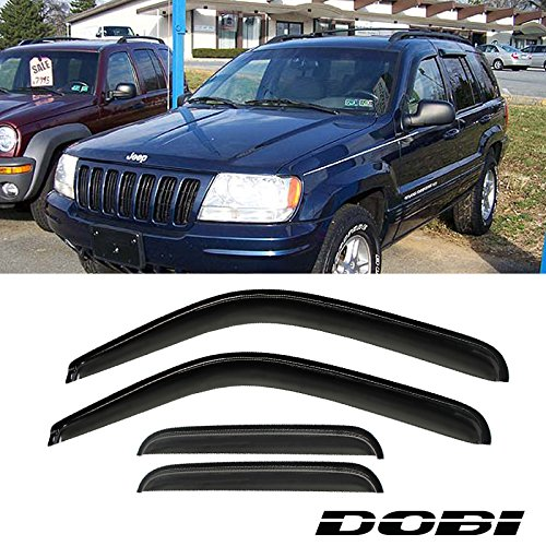 Audrfi 4pcs Window Visors for 99-04 Jeep Grand Cherokee WJ Sun/Rain Guard Smoke Vent Shade