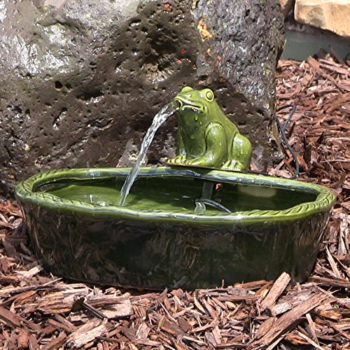 Sunnydaze Ceramic Solar Power Frog Outdoor Water Fountain, 7 Inch Tall