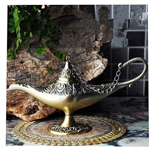 Gusnilo New Collectable Rare Legend Aladdin Magic Genie Light Lamp Pot Classic Gold