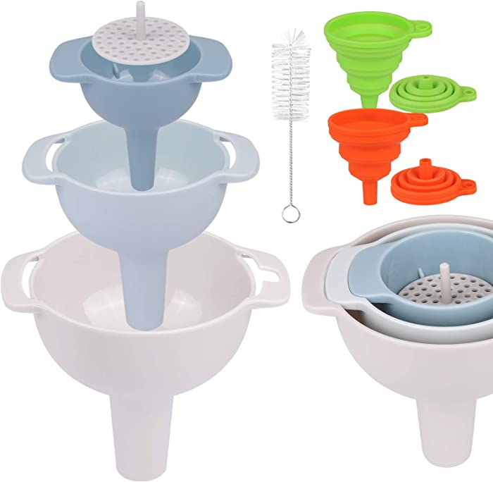 Kitchen Funnels Set of 5 with Detachable Strainer Filter and Brush, SORICO Food Grade Plastic Funnel with Handle for Juice, Oil, Liquid, Powder Transfer