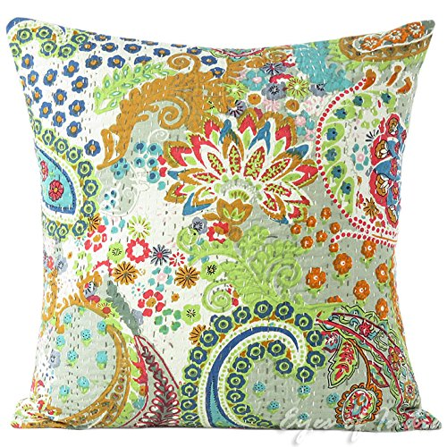 "EYES OF INDIA - 16"" Gray Kantha Decorative Cushion Couch Pil"