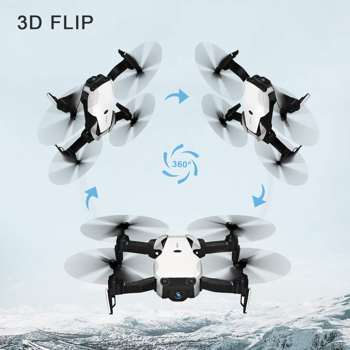 Drones with Camera 1080P for Adults,EACHINE E511 WiFi FPV Live Video Quadcopter with 120° FOV 1080P HD Camera, 17mins Long Flight Time Foldable RC Drone RTF - Altitude Hold, 3D Flip, APP Control by EACHINE (Image #7)