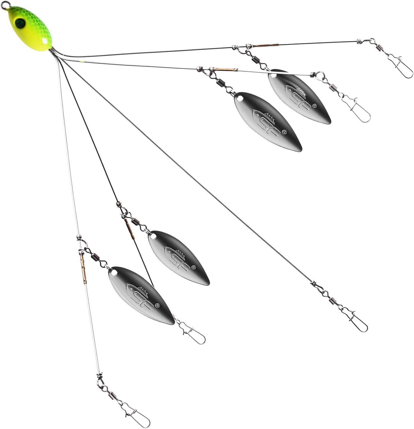 11× Alabama Trolling Rig Umbrella Kit 5 Arms w// Soft Lures/&Lead Hooks 21.5cm//18g