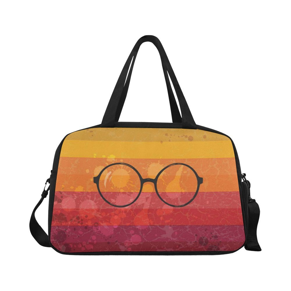 InterestPrint Round Glasses Retro Duffel Bag Travel Tote Bag Handbag Luggage