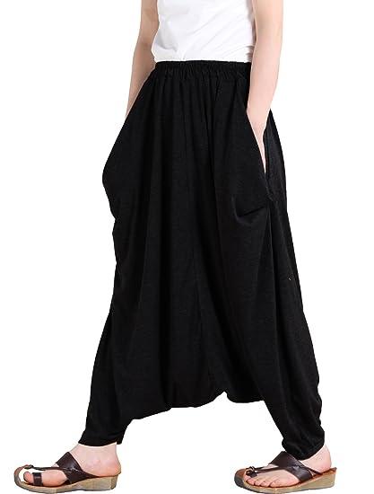 adb5d7deb2 Vogstyle Women's Casual Drop Crotch Harem Pants (Black): Amazon.co ...