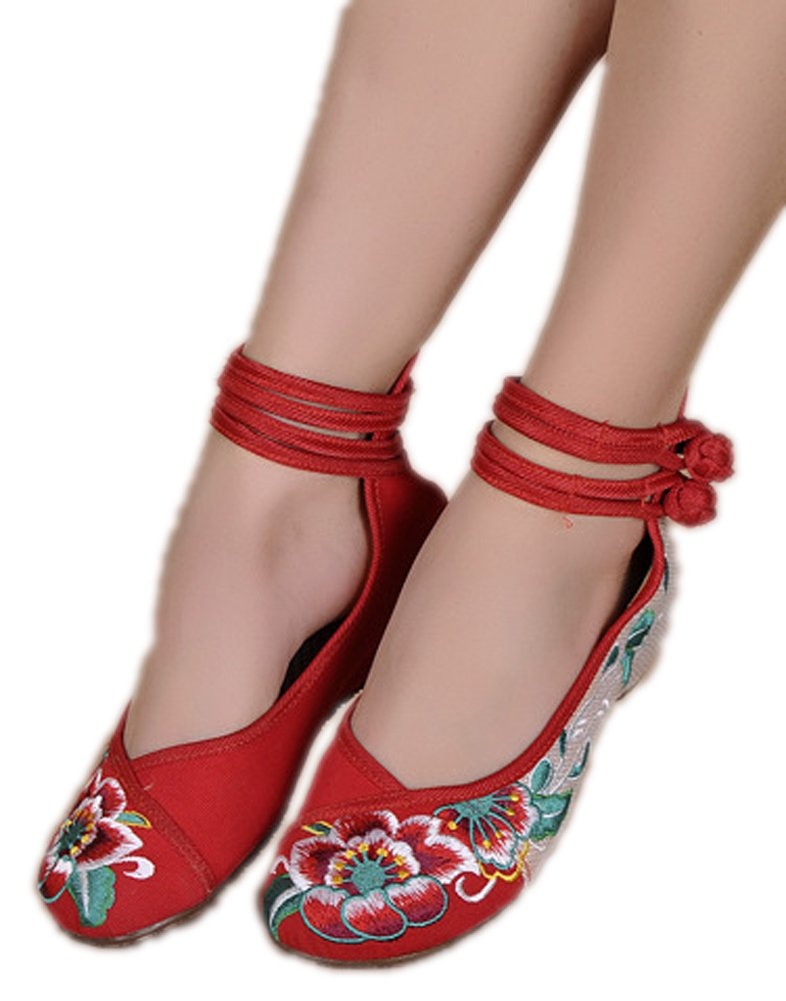 AvaCostume Womens Folk Style Shoes Rubber Sole Peony Embroidered Bride Flats, Red, 37