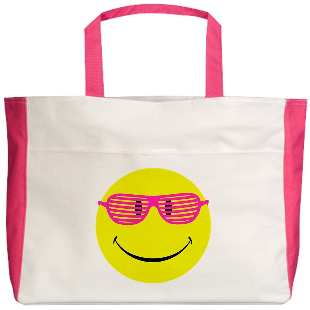 Royal Lion Beach Tote (2-Sided) Neon Yellow Smiley Face Sunglasses - Fuchsia