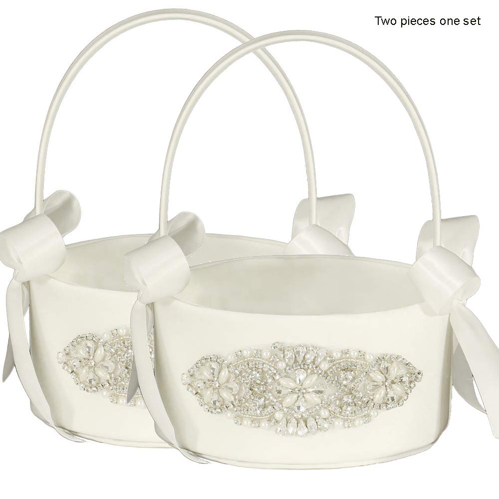 LAPUDA Bridal Decorative Wedding Supplies Flower Girl Baskets with Shining Diamonds, Delicate and Shining,Two Pieces one Set, Style HL0253 (Ivory)