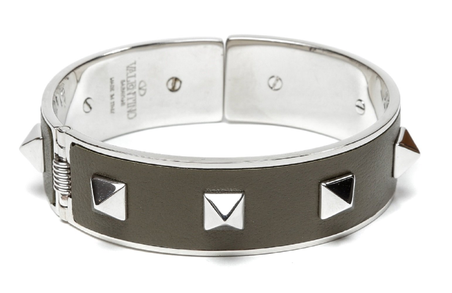 Wiberlux Valentino Women's Silver Stud Detail Steel Cuff Bracelet One Size Olive