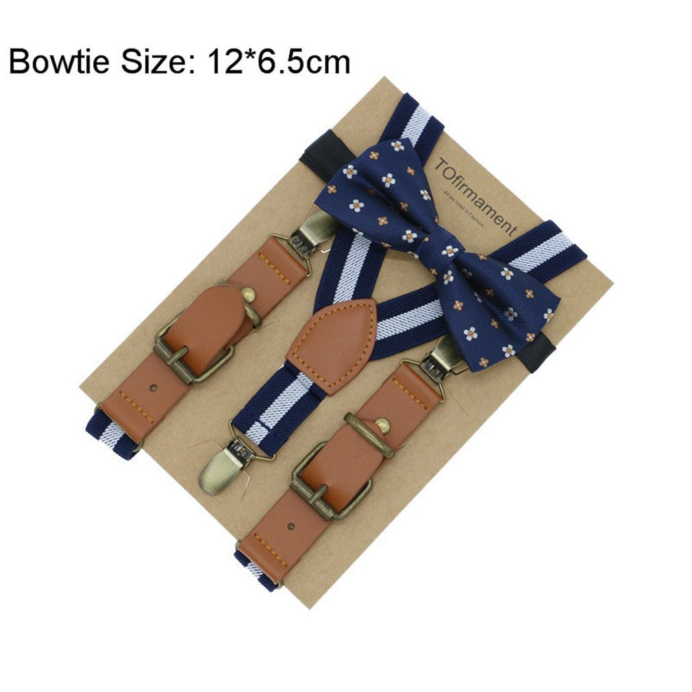 Love Leather Shape Kids Suspender Bow Tie Ring Bear Boy Packed Gift Adjustable 3