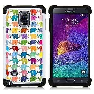 """Hypernova Híbrido Heavy Duty armadura cubierta silicona prueba golpes Funda caso resistente Para Samsung Galaxy Note 4 IV / SM-N910 [Modelo blanco colorido Niños""""]"""