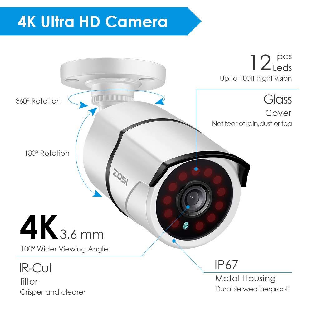 30M Vision Nocturne 3840x2160 Alerte des Mouvements 8CH H.265+ 4K DVR avec Disque Dur de 2 to et 4 Cam/éras Surveillance IP67 4K//8MP ZOSI 4K Ultra HD Syst/ème de Surveillance Ext/érieur