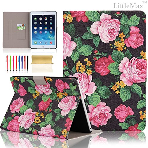 (iPad Mini 1/2/3 Case - LittleMax(TM) [Card Holder]Stand Case with Auto Sleep/Wake Function Ultra Slim Flip Case Cover for Apple iPad Mini 1/2/3 [Free Cleaning Cloth,Stylus Pen]--#2 Peony)