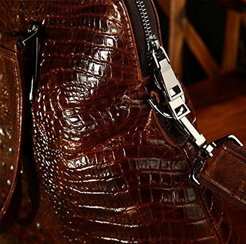 Heshe Vintage Leather Crocodile Men Handbags Messenger Briefcase Business Shoulder Bag Work Tote Fit Laptop (Dark Brown) by HESHE (Image #5)