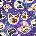 猫の顔柄のカラフルな銀河のコットン生地 Timeless Treasuresの商品画像