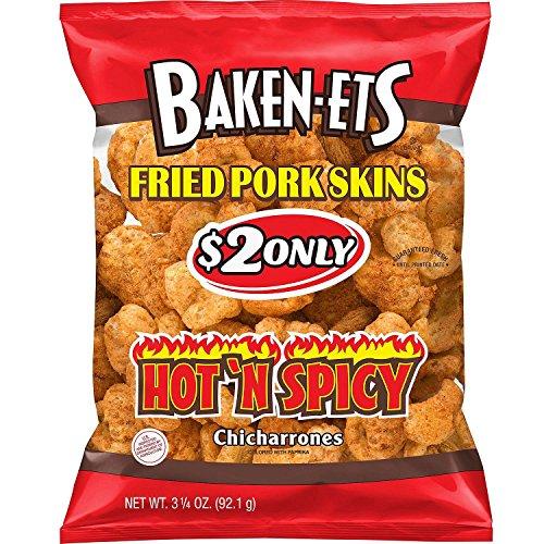 Baken-Ets Hot 'n Spicy Fried Pork Skins (3.25 oz. ea., 15 ct.) - (Original from manufacturer - Bulk Discount - Fried Pork
