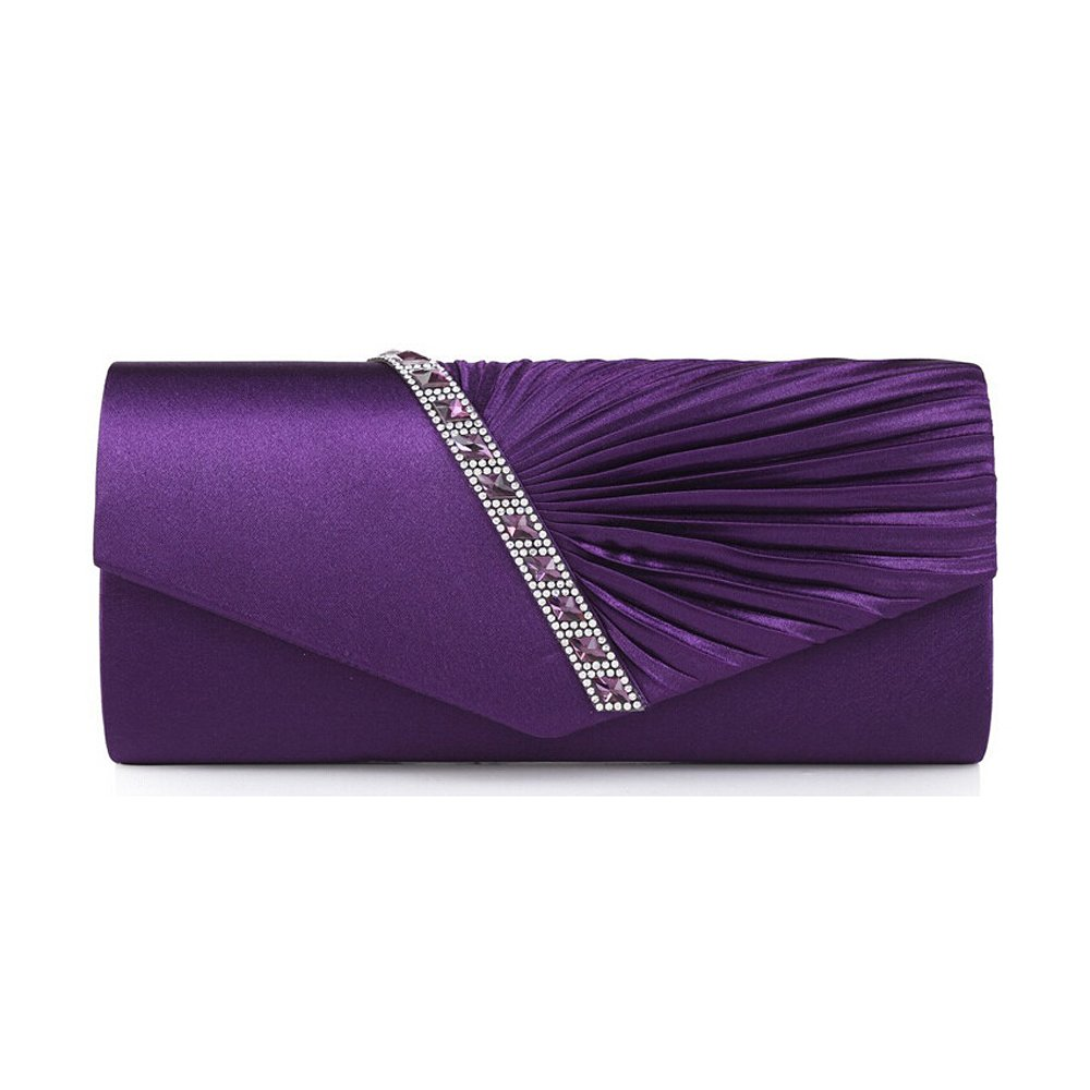 Vintage Satin Pleated Envelope Evening Cocktail Wedding Party Handbag Clutch Purple