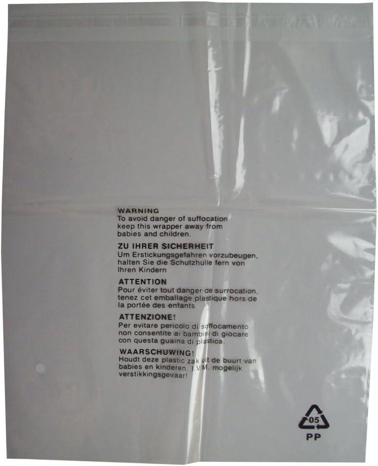 100bolsas de embalaje con advertencia de seguridad, cierre autoadhesivo, plástico transparente, tamaño grande: 350x 425mm, 38 micras.