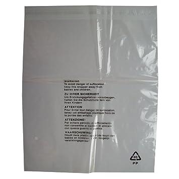 100 bolsas de embalaje con advertencia de seguridad, cierre autoadhesivo, plástico transparente, tamaño grande: 350 x 425 mm, 38 micras.
