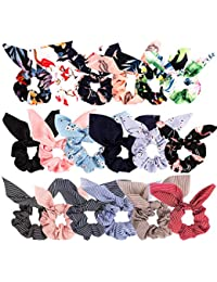 Bow Scrunchies For Hair, 18 Pcs Chiffon Satin Scrunchies Silk with Bow Scarf, Solid Stripe Flower Color Bow Scrunchies, Ponytail Holder with Tail, Rabbit Bunny Ear BowKnot Hair Accessories