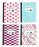 4-Pack Composition Notebook Wide Ruled, 100 Sheet Purple Pink Jewel Tone Prints