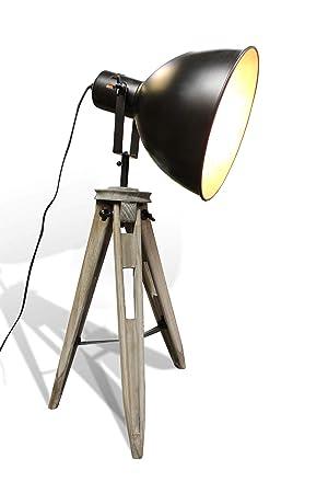 Lámpara de pie con trípode de diseño Industrial en madera y ...
