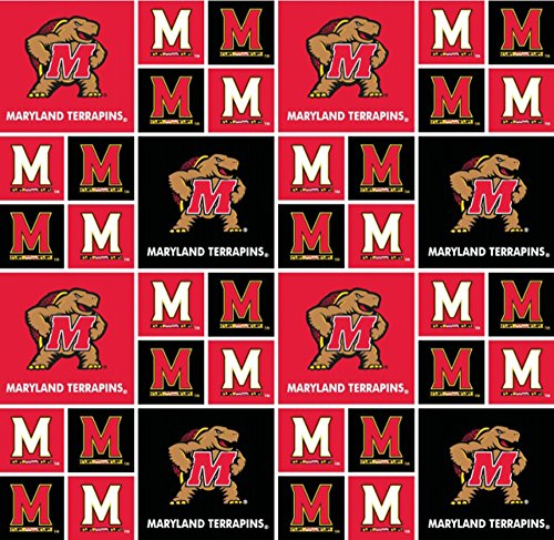 Cotton University of Maryland Terrapins Terps College Cotton Fabric Print by the Yard (md-020)