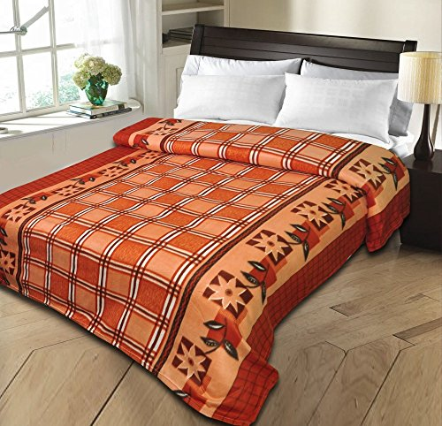 Christy's Collection Super Soft Printed Cotton Blend AC Double Blanket – Brown