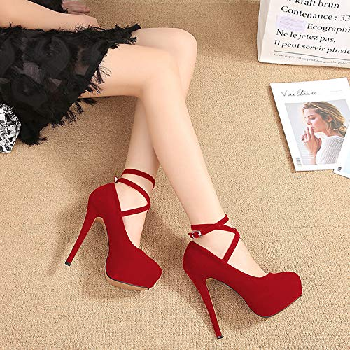 SFSYDDY Heel Night Heel gules Single Shoes Hate High High Sky Wristband Platform Waterproof Shoe Thin Ladies 14Cm Shoes 1P1qr