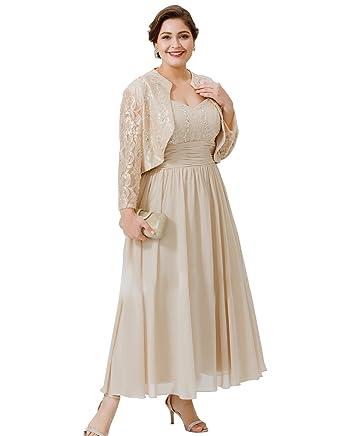 Kelaixiang Women\'s Plus Size 2 Pcs Lace Swing Jacket Dress Wedding ...