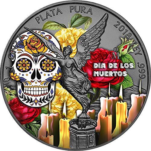 2018 MX Modern Commemorative PowerCoin DIA DE LOS MUERTOS Day Dead Libertad Yellow Rose 1 Oz Silver Coin Mexico 2018 BU Brilliant Uncirculated