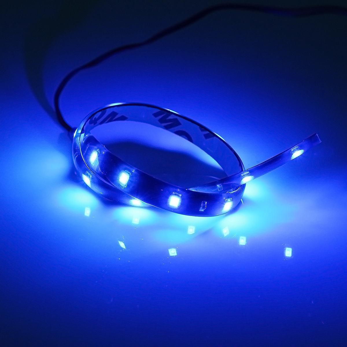 Partsam 4PCS 12 15-3528-SMD Blue LED Strip Lights Interior Under Dash Floor Light for Cars Trucks Pickup Glow Neon Lighting Side footwells Light