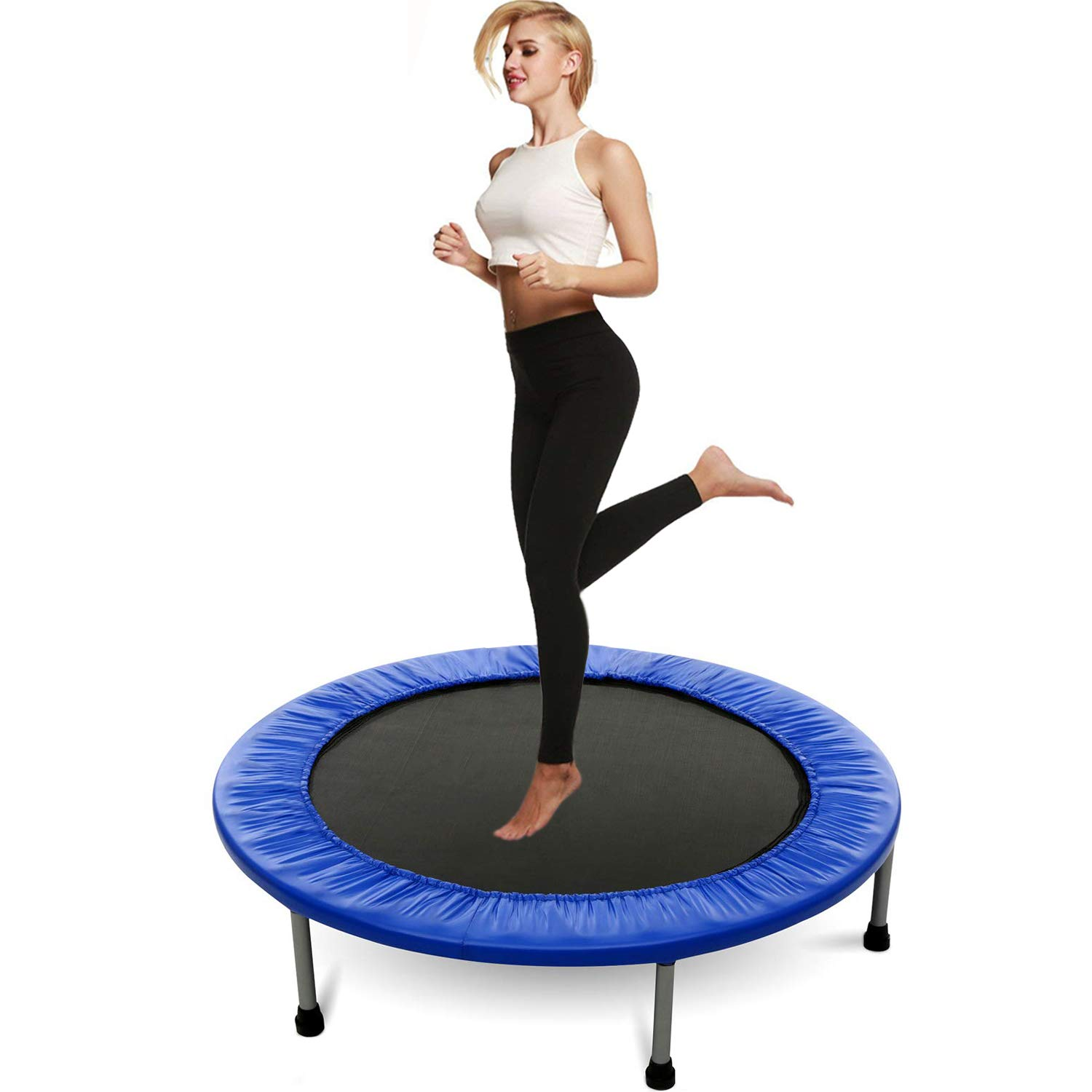 Hosmat Mini Exercise Trampoline for Adults or Kids - Indoor Fitness Rebounder Trampoline with Safety Pad | Max. Load 200LBS (Blue) by Balanu