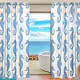 SEULIFE Window Sheer Curtain, Ocean Sea Animal Seahorse Pattern Blue Voile Curtain Drapes for Door Kitchen Living Room Bedroom 55x78 inches 2 Panels