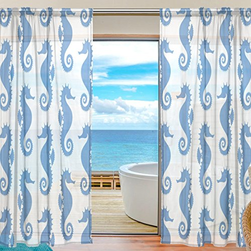 SEULIFE Window Sheer Curtain, Ocean Sea Animal Seahorse Pattern Blue Voile Curtain Drapes for Door Kitchen Living Room Bedroom 55x78 inches 2 Panels by SEULIFE