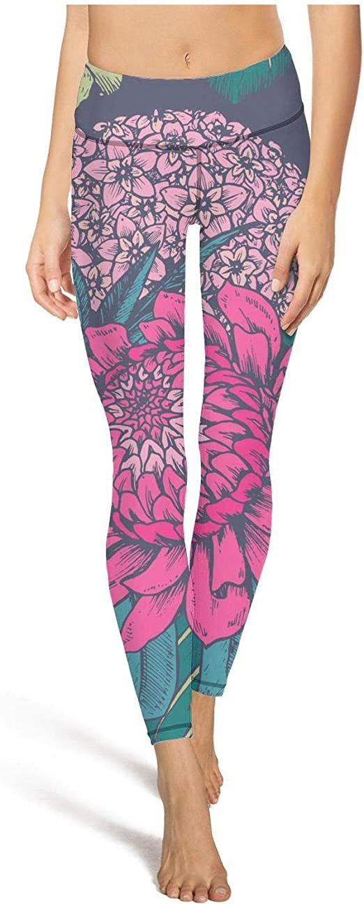 Womens High Waisted Yoga Pants Tropical Floral Pineapple Designer Gym Leggings
