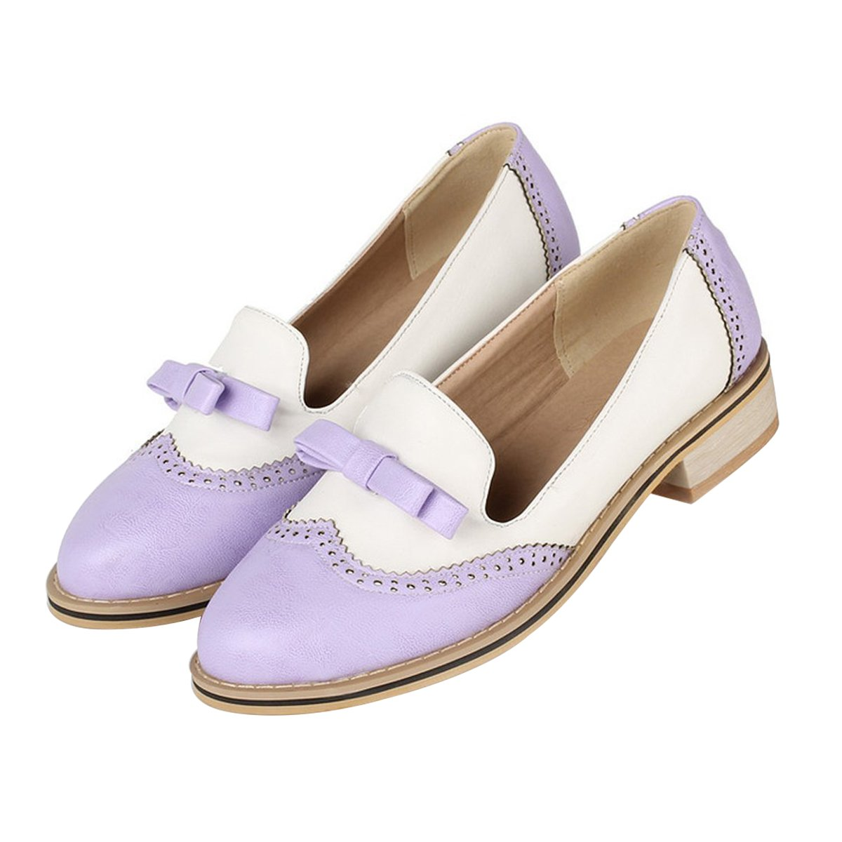 leanna Spring Summer Fashion Vintage Brogue Women's Low Heel Sweet Bowknot Oxfords Shoes Candy Color