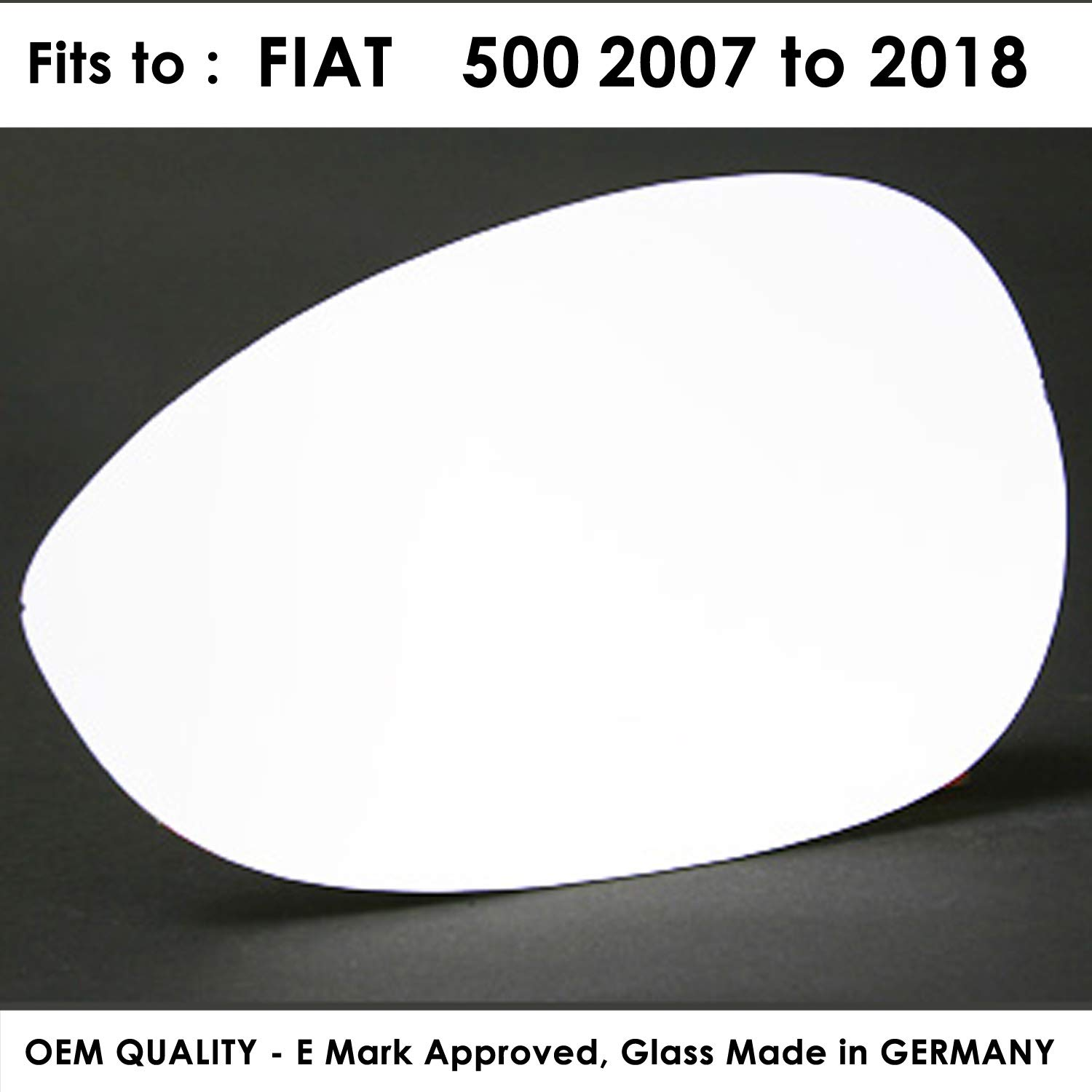 FI500 2007 to 2017 Heated Silver Door Mirror Glass Including Base Plate RH Driver Side