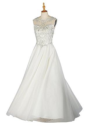 b1c245f50124 Wedding Dresses for Bride Natural Scoop Sleeveless Long Beaded A-line  Wedding Dress, Color