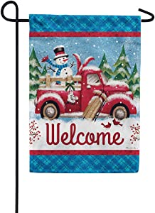 Winter Truck - Welcome - GARDEN Size, 12 Inch X 18 Inch, Decorative Double Sided Flag Printed in USA - Copyright and Licensed, Trademarked by Custom Décor Inc.