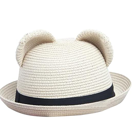 99d1584d4b6 Image Unavailable. Image not available for. Color  Women s Cute Cat Ear  Bowler Straw Sun Summer Beach Roll-up Curly Brim Hat Cap