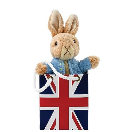 Beatrix Potter Plush A27398 Peter Rabbit toy in Union Jack Bag