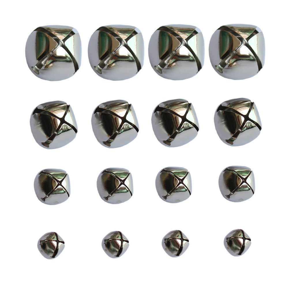 160 PCS Silver Christmas Jingle Bells Mini Small Bells Bulk for Festival & Party Decorations/DIY Craft, 4 Sizes (10mm, 15mm, 20mm, 25mm) Housuner Gear 4336848469
